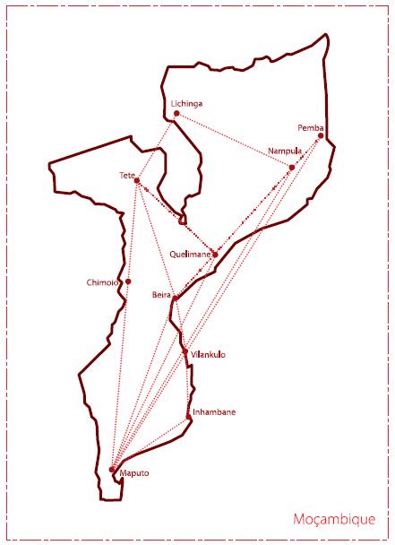 LAM Mozambique Airlines route map - domestic routes