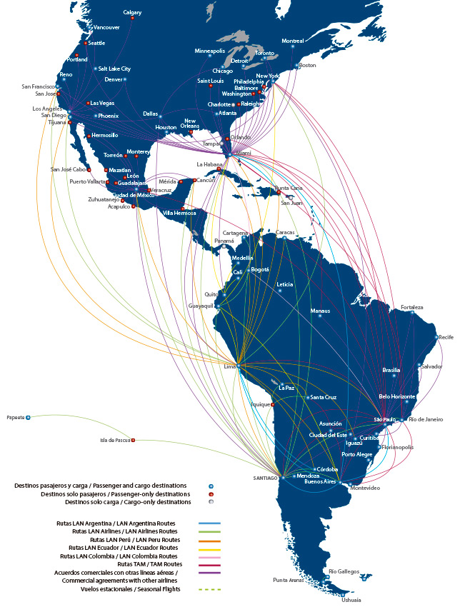 LAN Airlines route map - regional routes
