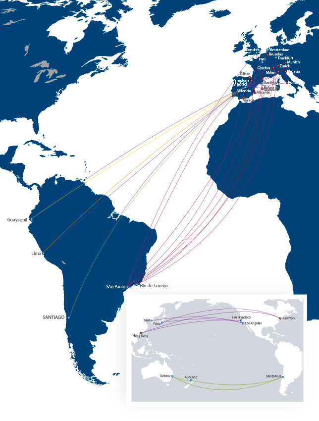 LAN Airlines route map - longhaul routes