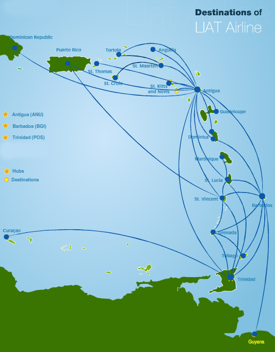 LIAT Leeward Islands Air Transport route map
