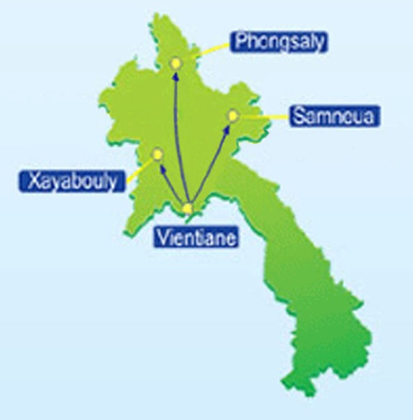 Lao Air route map