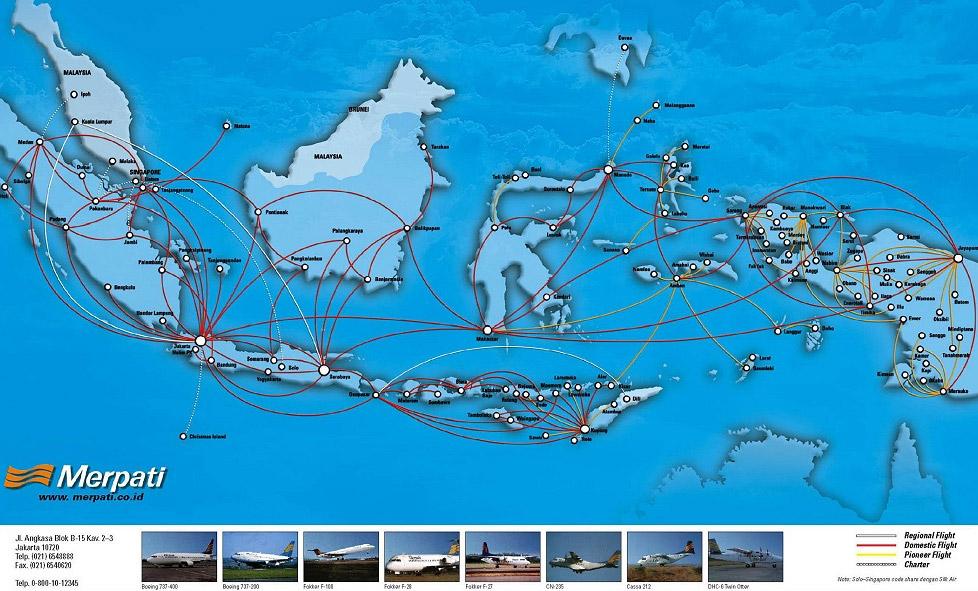 Merpati Nusantara Airlines route map