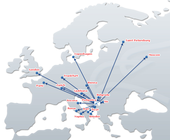 Montenegro Airlines route map