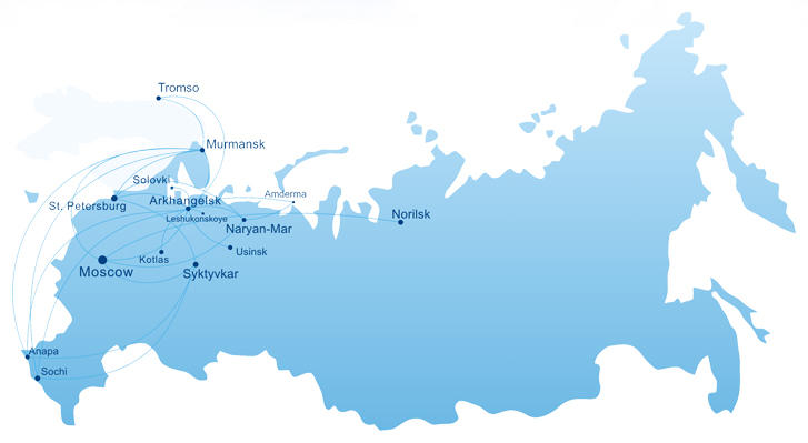 Nordavia route map