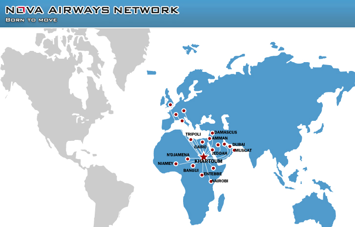 Nova Airways route map