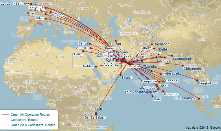 Oman Air route map