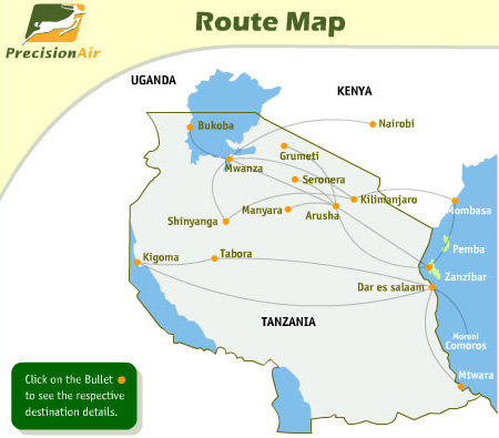 Precision Air route map