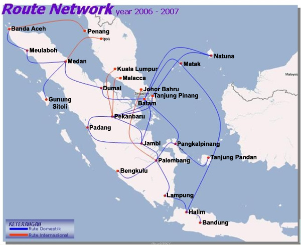 Riau Airlines route map