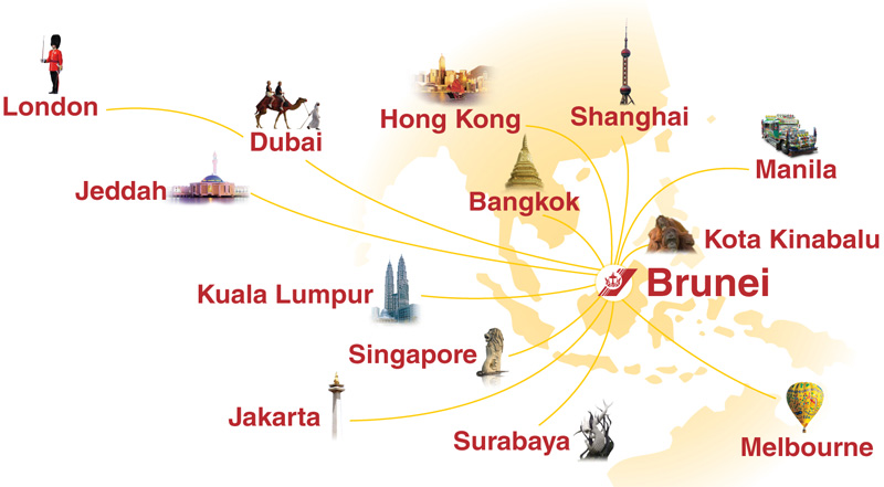 Royal Brunei Airlines route map