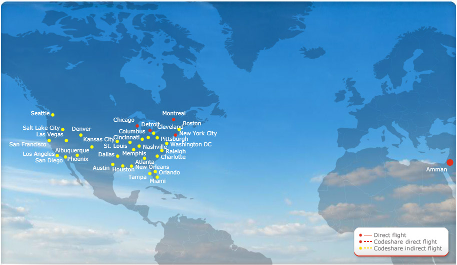 Royal Jordanian route map - North America
