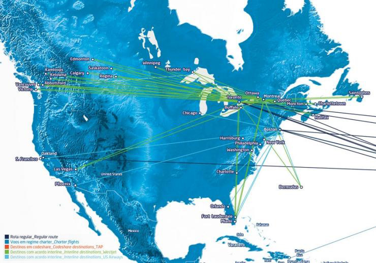 SATA International route map - North America