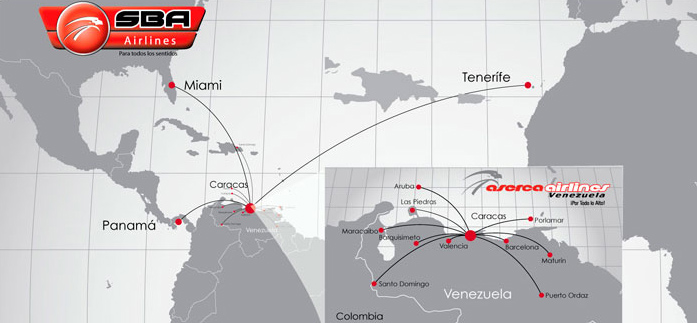 SBA Airlines route map - Santa Barbara Airlines