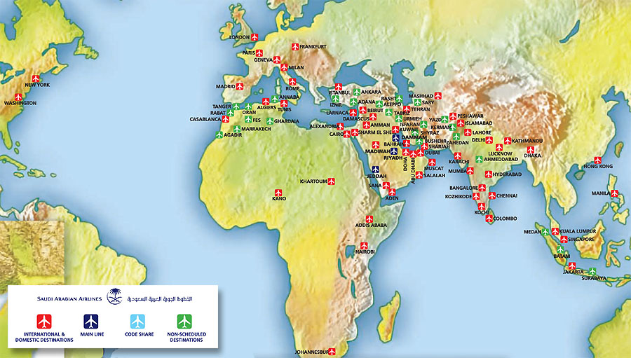 Saudi Arabian Airlines route map - international routes