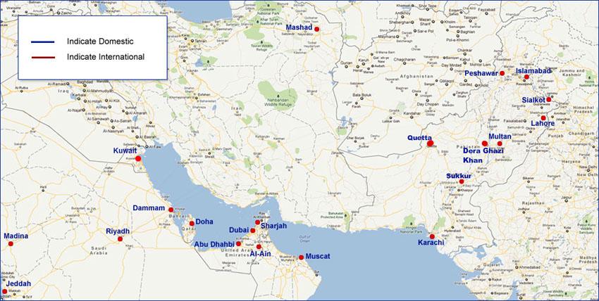 Shaheen Air International route map