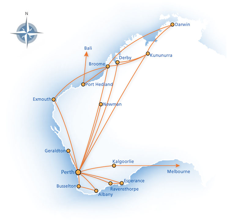 Virgin Australia Regional Airlines (Skywest) route map