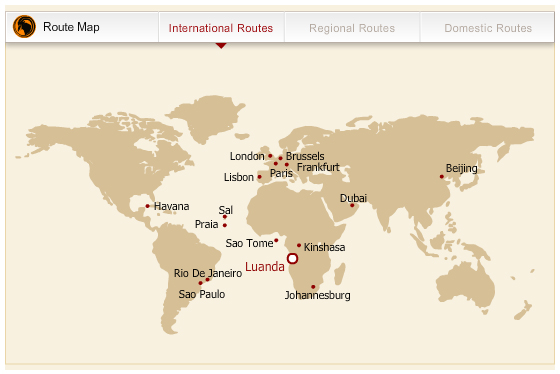 TAAG Angola Airlines route map - longhaul routes