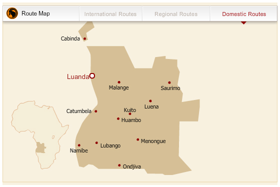 TAAG Angola Airlines route map - domestic routes