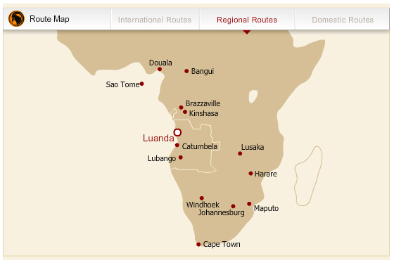 TAAG Angola Airlines route map - regional routes