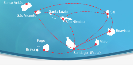 TACV Cabo Verde Airlines route map - domestic routes