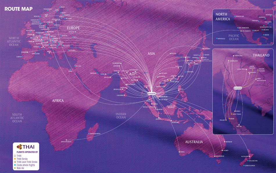 Thai Airways International route map - international routes