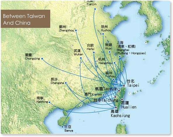 TransAsia Airways route map - China