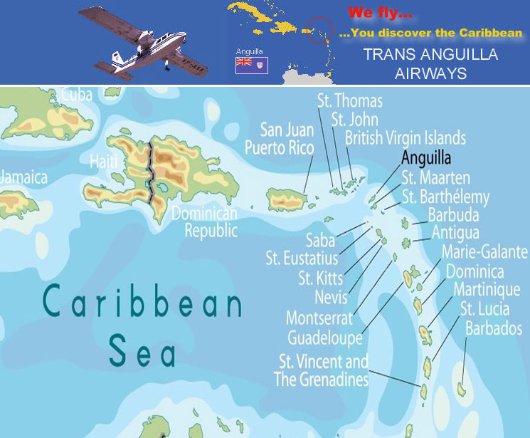Trans Anguilla Airways route map