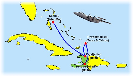 Tropical Airways route map - international routes