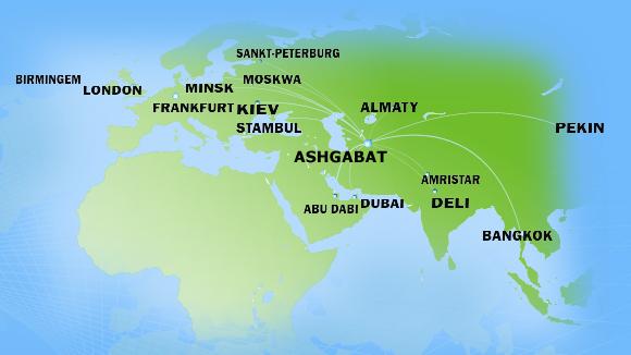 Turkmenistan Airlines route map
