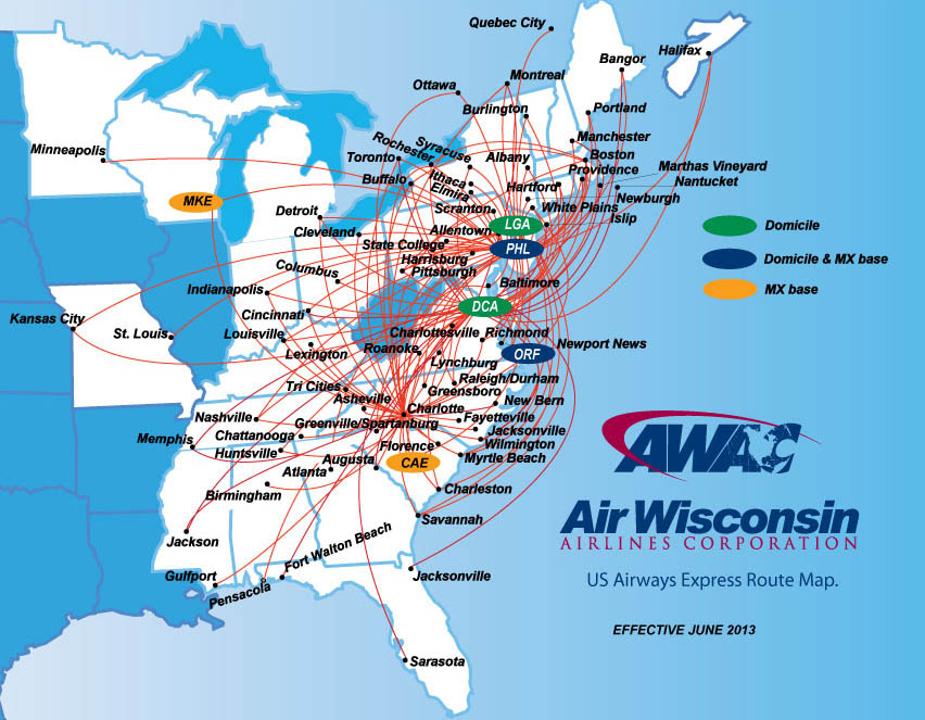 Us Airways Express Air Wisconsin Route Map - Wisconsin-on-map-of-us