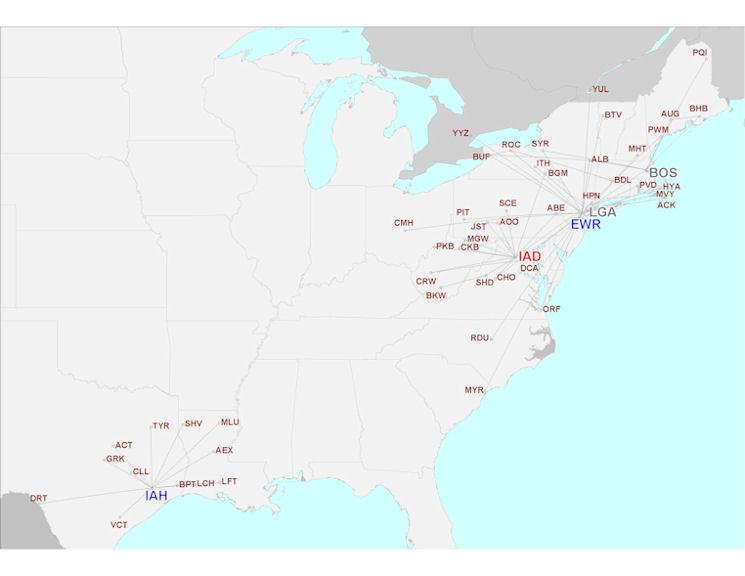 US Airways Express - Colgan Air route map