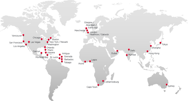Virgin Atlantic route map - longhaul routes