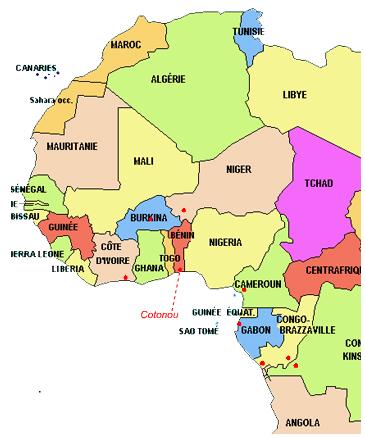 Westair Benin route map