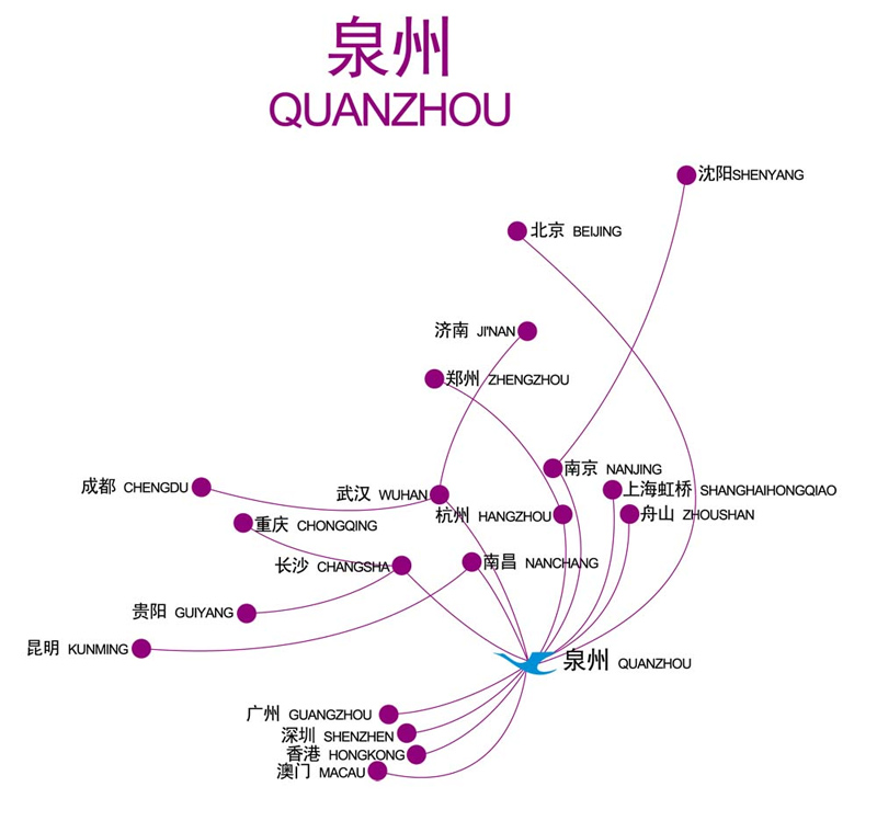 Xiamen Airlines route map - from Quanzhou