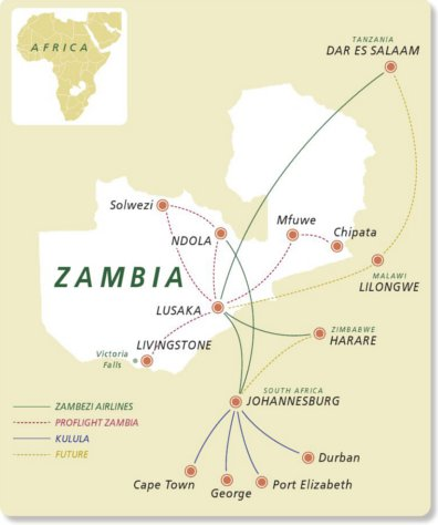 Zambezi Airlines route map