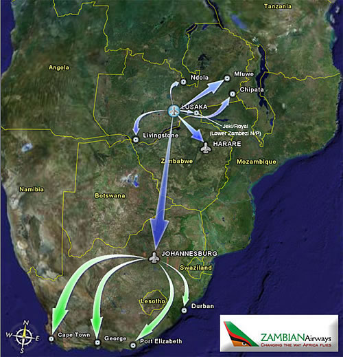 Zambian Airways route map