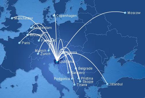 Adria Airways route map