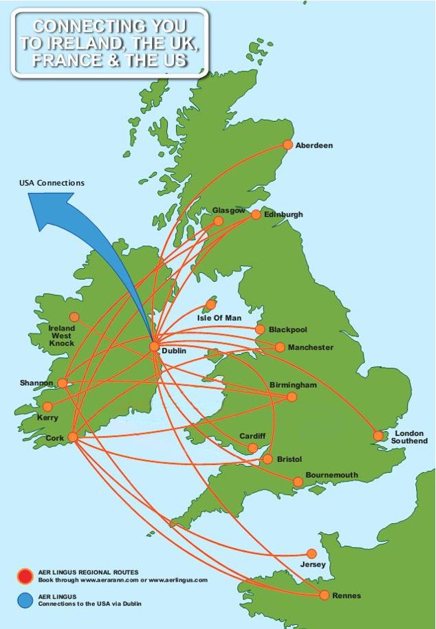 Aer Arann route map