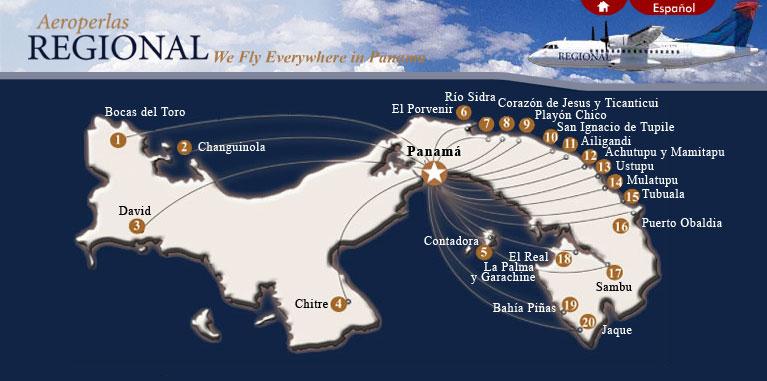Aeroperlas route map