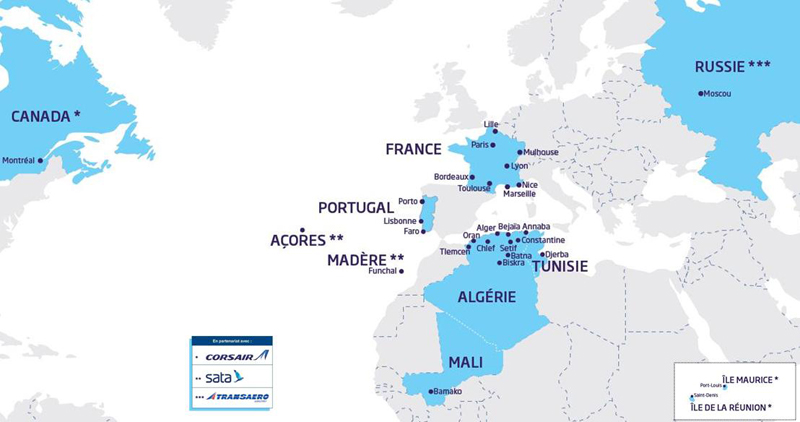 Aigle Azur route map