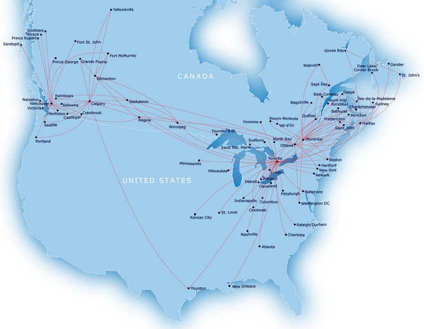 Air Canada Express - Jazz Aviation route map