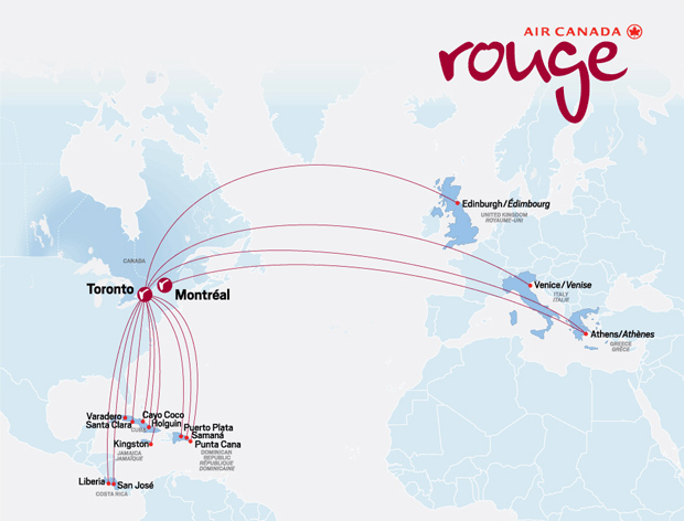 Air Canada Rouge route map