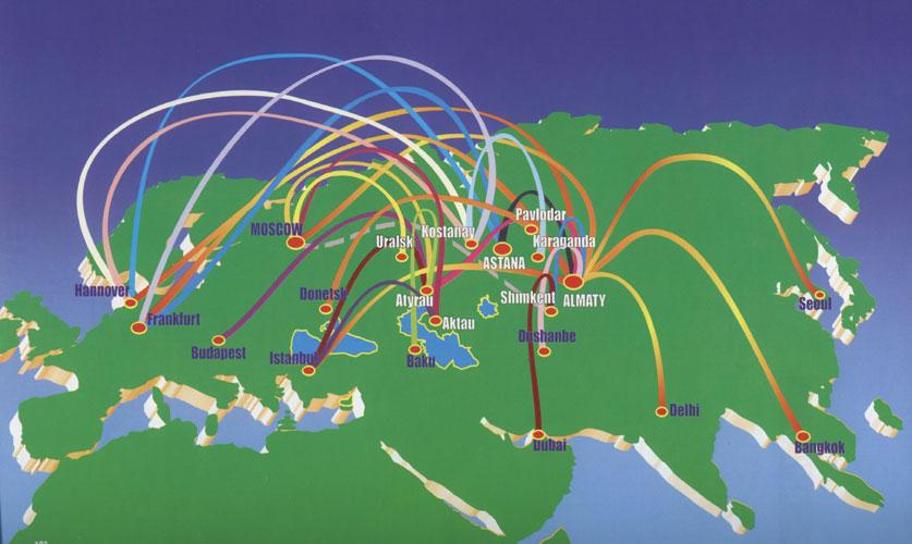 Air Kazakhstan route map