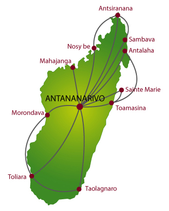 Air Madagascar route map - domestic routes