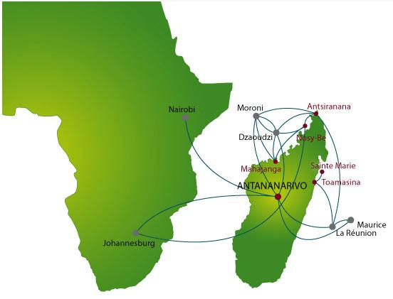 Air Madagascar route map - regional routes