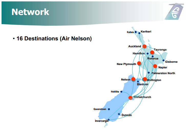 Air New Zealand Link route map - Air Nelson