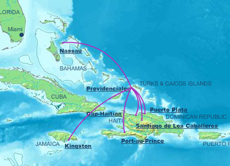 Air Turks and Caicos route map - international routes