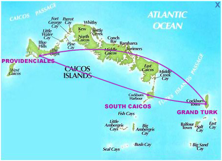 Air Turks and Caicos route map - domestic routes