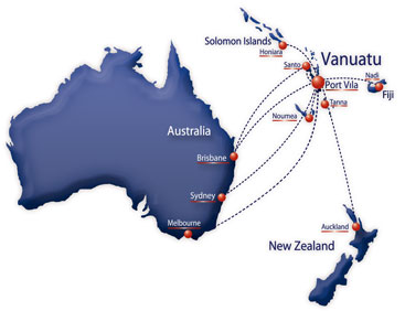 Air Vanuatu route map - international routes