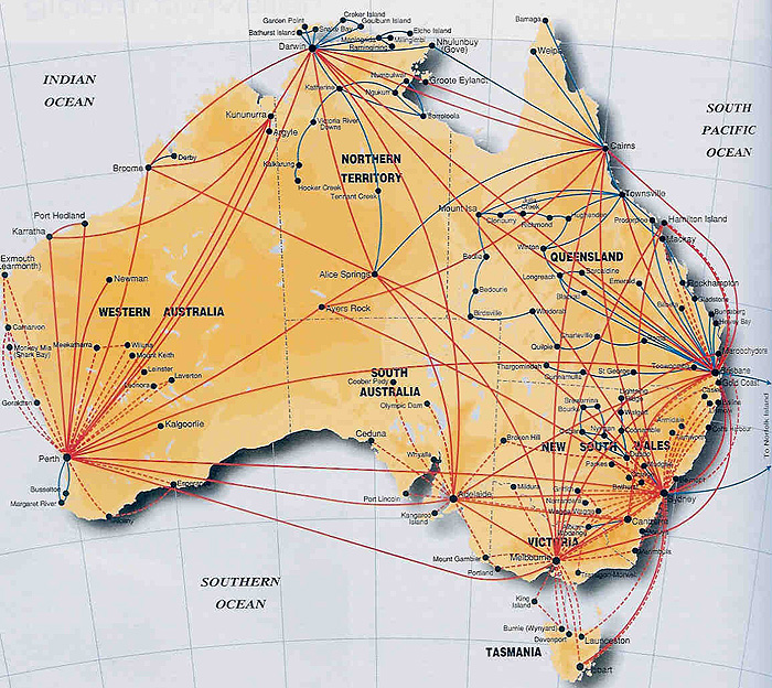 Ansett Australia route map