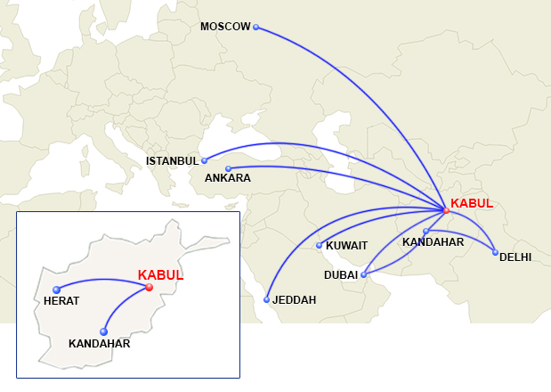 Ariana Afghan Airlines route map